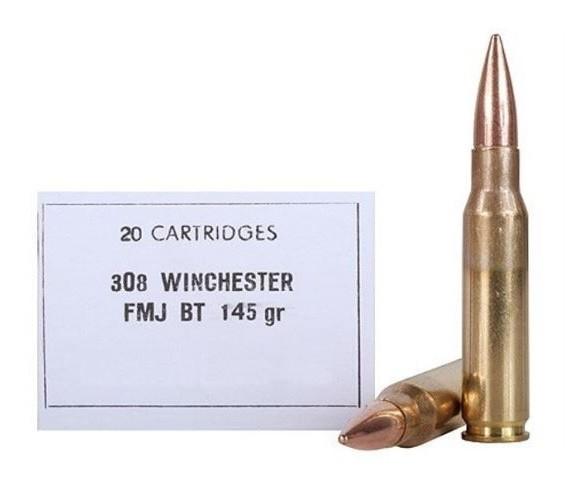 PRVI .308Win. 145grs. FMJ BT Military Line